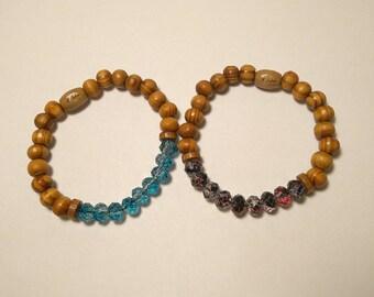 Glass bead elastic bracelet wood different colors