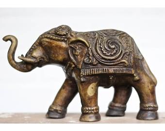 Vintage Brass Elephant Statue / Bookshelf Decor / Good Luck Elephant / Vintage Brass Elephant