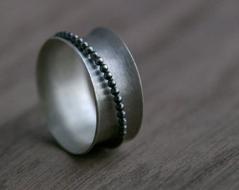 Strung Cuff Ring, wide sterling silver band with spinner
