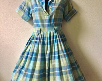 1950s dress, medium vintage dress, blue green silver plaid dress, shirtwaist dress, pinup, rockabilly dress, 50s dress, full skirt, VLV