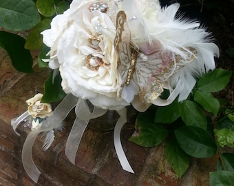 Custom Order for a Soft Blush and Ivory Butterfly Brooch Bridal Nosegay