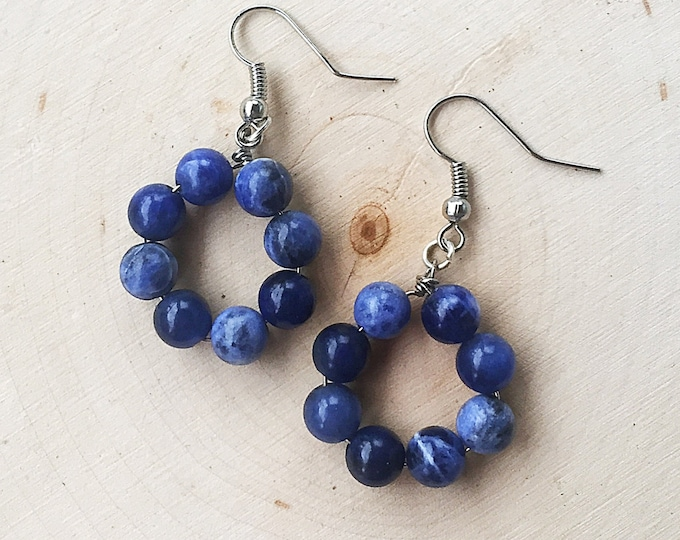 Sodalite Bead Earrings, Blue Healing Stone, Gemstone Hoops, Silver Crystal Jewelry, Bohemian, Gifts For Her, Bridesmaid Gift, Handmade