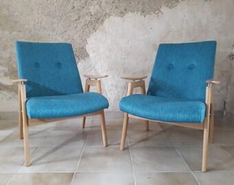 Pair of armchairs Smidek #6950 Vintage Czechoslovakian 1960 s renovated
