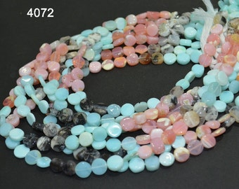 8 Strand of 16 inch of beautiful Multi Peruvian Opal smooth coin Briolettes 8-10 mm