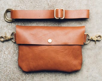 classic snap hip bag + satchel in cognac // leather fanny pack // solid brass hardware // worn as hip bag, shoulder and cross-body