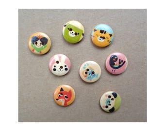 5 Wooden Animal Mixed Buttons Children's Buttons 2-hole Button 15mm Buttons Craft Buttons Sweater Button Slipper Button Whimsical Buttons