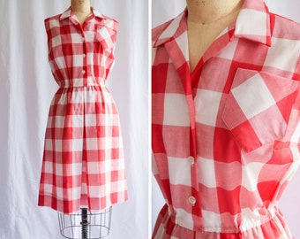 1960s Dress   Serbin   Vintage 60s Gingham Shirtwaist Red White Large Checks Sleeveless Cotton Summer Dress with Pockets B. Altman Size L
