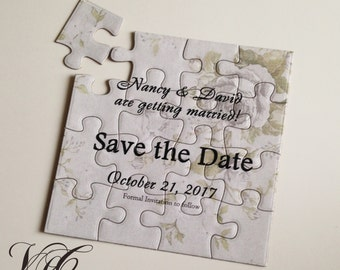Save the Date puzzle, Personalized Save the Date puzzle, Personalized Wedding Announcement puzzle, Save the Date card with roses
