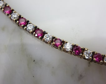 Fake Diamond & Ruby Tennis Bracelet - Yellow Gold Plated over Sterling Silver Costume Jewelry Wedding Jewelry Bracelets for Women