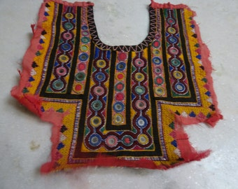 Indian Vintage Neck Yoke Embroidery OF Beads Work And Mirror work Handmade Applique Patch Sewing craft, cotton fabric neck yoke 118