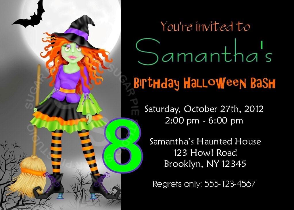 Printable halloween birthday party invitation custom zoom filmwisefo Image collections