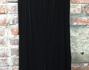Vintage Black Velvet Maxi Skirt with Side Slit