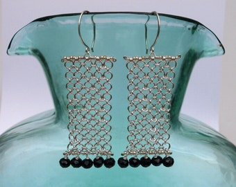 Long Silver Chain Black Onyx Fringe Earrings Beaded Rectangle Chainmaille Earrings Silver Black Statement Jewelry Unique Geometric Earring