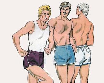 ON SALE Vintage 1970s Mens Designer Pull On Shorts Gym Shorts Shaped Hemline Sewing Pattern Kwik Sew 1093 70s Pattern Waist 28-34 UNCUT