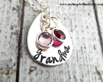 Grandmother necklace-personalized necklace-Grandma necklace-nana necklace-sterling silver necklace-mothers day gift-mommy necklace