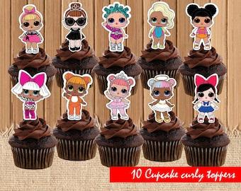 Digital Lol doll toppers| Lol dolls party birthday| printable Lol doll cupcake toppers|  Lol dolls decor| Lol dolls children party