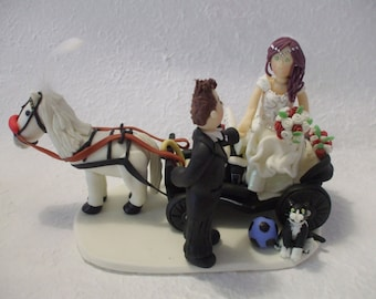 Personalized  bride & groom  with carriage wedding cake topper