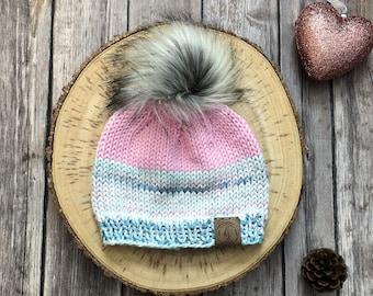 READY TO SHIP! Baby Girl Knit Hat/Baby Beanie/Pink Blue Baby Hat/Newborn Beanie/Newborn Hospital Hat/Baby Shower Gift/Fluffy Fur Pom-Pom Hat