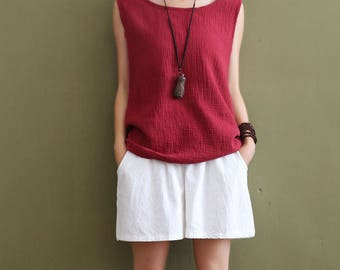 Women cotton and linen vest – Loose Lace Wrinkled Vest
