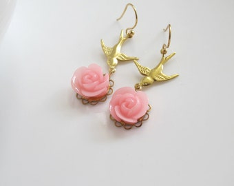 Romantic Sweet Rose Earrings. Pink Rose Floral Dangle Earrings. Swallow Birds Floral Ear Accessories. 14k Gold Filled Earwire Available