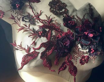 SECONDS - BURGUNDY, Plum & Green 3D Applique , Beaded  for Lyrical Dance, Ballet, Couture Gowns F15