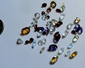 Loose Gemstones,Parcel, 35+ ctw,faceted,Parcel 3,Mixed Shapes, Sizes, Solitaires, Natural