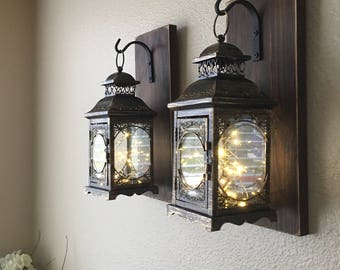 Hanging Lantern Sconces, Farmhouse Wall Decor, Lantern Sconces, Black, Lanterns, Wood Sconce with Lantern, Country Decor, Wall Lantern