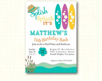 Teen Pool Birthday Party Invitation, 10th, 11th, 12th, 13th, 14th, 15th, beach, pool party, bbq, boy, girl, digital, printable invite B52651