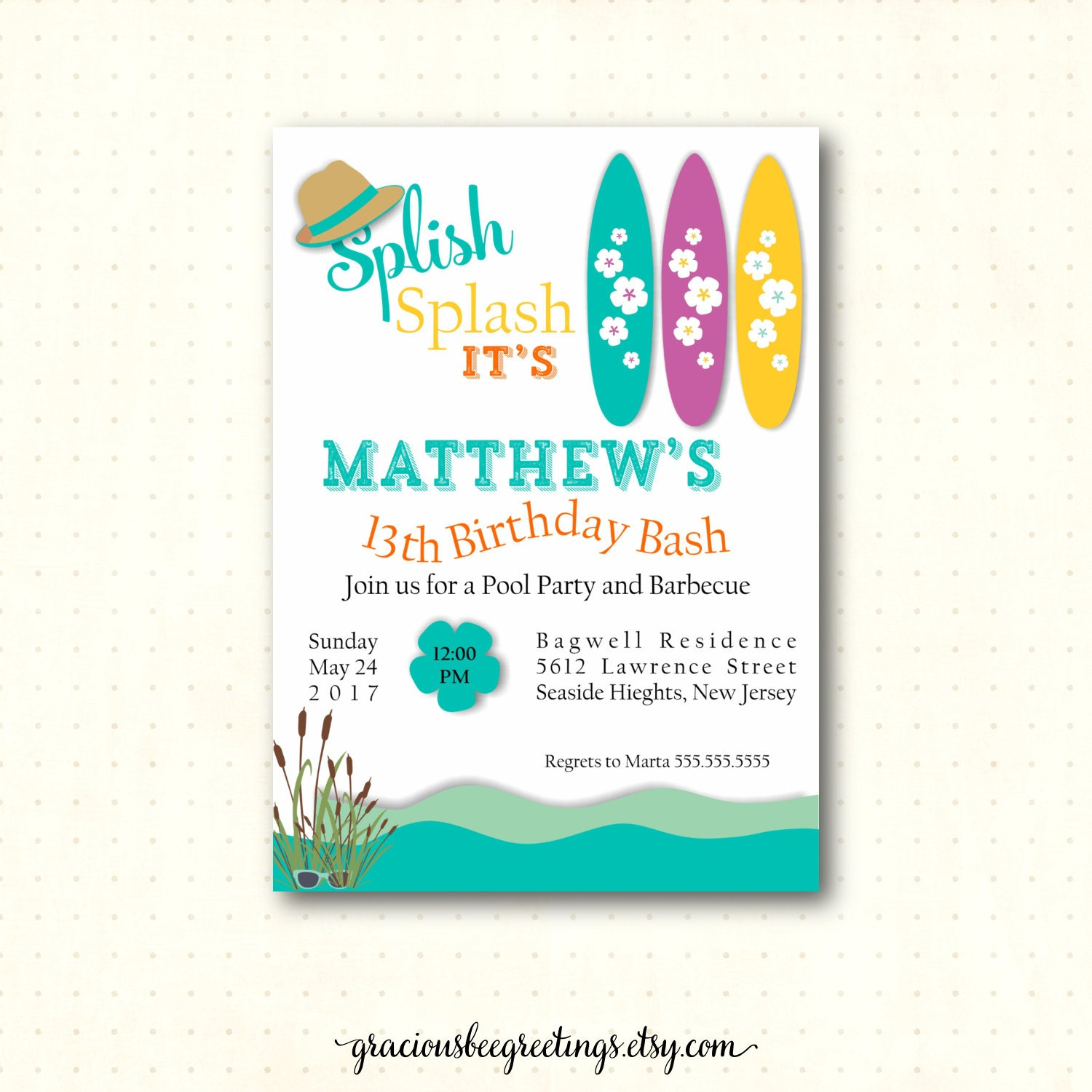 Teen Pool Birthday Party Invitation 10th 11th 12th 13th
