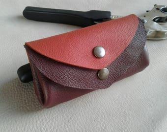 P coin / credit card - 4 pockets - plum rust