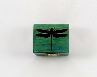 Green Dragonfly Hand Burned Trinket Box