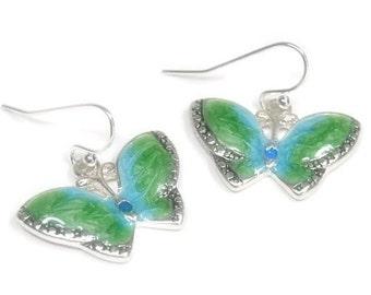 Butterfly Earrings - Blue Green Butterfly Dangle Earrings - Insect Earrings - Butterfly Jewelry - Symbolic Butterfly - Bug Jewelry