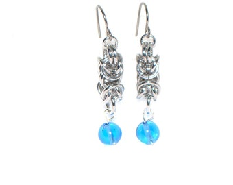 Blue Glass Vintage Beads Silvertone Chainmail Earrings