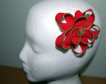 Red Zipper Flower Hair Clip