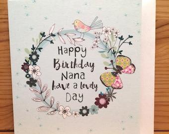 Happy Birthday Nana Card Birthday card,Nana,Butterfly,Greetings card,Happy Birthday Nan,flowers, special card,Pretty card,Lovely day G33