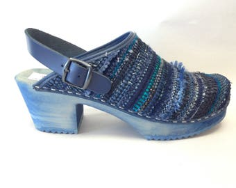 Blue Lagoon woven medium heel on a blue stained base and ankle strap