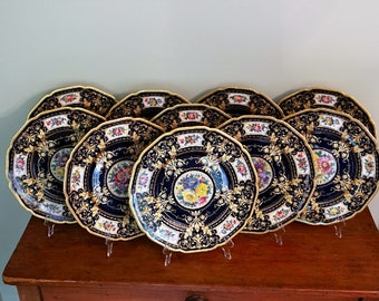 Cabinet Plates Hutschenreuther Black Knight  Cobalt and Gold 10 pcs