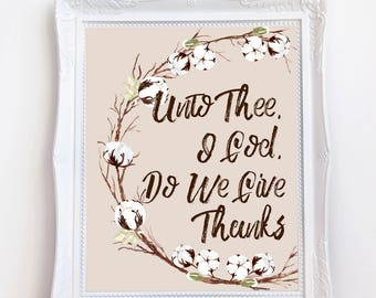 Unto Thee O God Printable, Fall Cotton Wreath Digital Art, Thankful Art, Instant Download, Autumn Art, Fall, 8 x 10 Digital, Thanksgiving