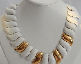 Vintage NAPIER Choker Chunky Metal Chain Choker White Gold Tone Necklace