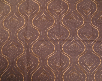 Fabric tarlatan oriental pattern - 148 x 198 cm - Brown and ochre