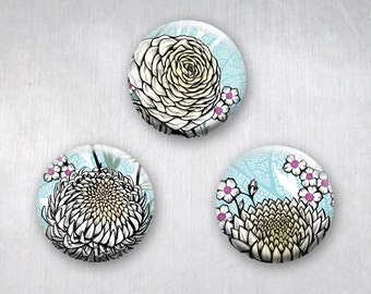 Graphic Asian Flower Drawings, Pinback Buttons, Lotus, Chrysanthemum, Peony, Original Art Design, 1.25 inch, Set of 3