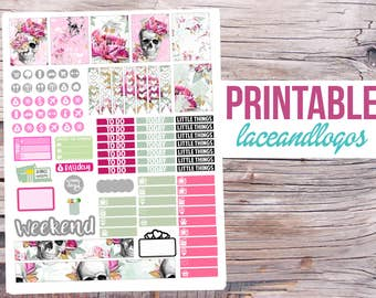 Printable Planner Stickers Floral Skull Weekly Kit for Erin Condren MAMBI Happy Planner Glam Planning Vertical Planner PDF JPG Print at Home