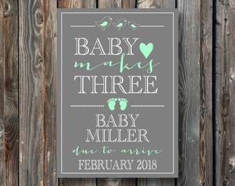 PRINTABLE Pregnancy Announcement Card–Printable Baby Reveal Card–Pregnancy Reveal Sign-Baby Announcement Sign-Baby Makes Three-PA08