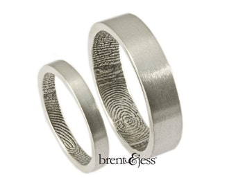 The Original FingerprintRing Set with Wrapped Prints on the Inside - Sterling Silver Fingerprint wedding bands
