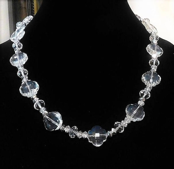 """Art Deco Crystal Necklace / Fancy Faceted Beads / 22"""" Matinee Strand"""