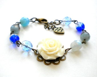Flower Girl Bracelet Kid Bracelet Children Gift Baby Girl Bracelet Flower Girl Gift Ocean Blue Bracelet White Flower Bracelet Blue Jewelry