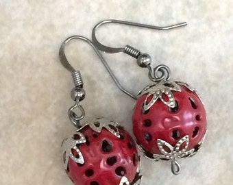 Red Enameled Bead Earrings