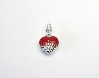 Heart Jewelry pendant email silver 925 heart flame Flaming Heart Enamel