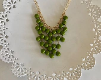 Cascading Statement Necklace | Beaded Statement | Green Statement Necklace | Gold Statement | Green Statement | Statement Jewelry | Holiday