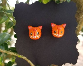 Polymer Clay Orange Kitty Stud Earrings